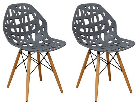 Mod Made MM-SW10004-DARK GREY Stencil Cut Out Eiffel Side Chair (Set of 2)