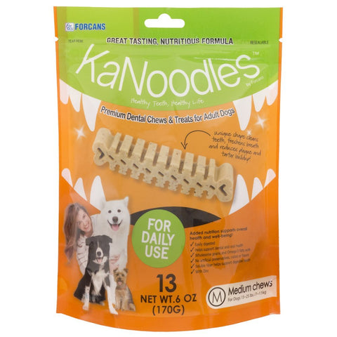 Forcans 19040 KaNoodles Premium Dental Chews & Treats Medium Dog, 13 Chews - Peazz Pet