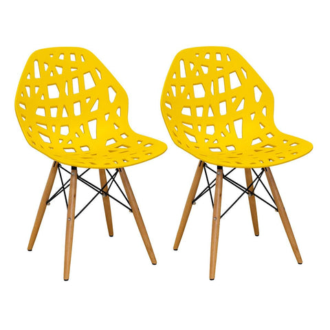 Mod Made MM-SW10004-YELLOW Stencil Cut Out Eiffel Side Chair (Set of 2)