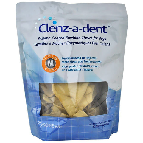 Clenz-A-Dent Enzymatic Rawhide Chews - Medium Dogs, 30 Chews - Peazz Pet