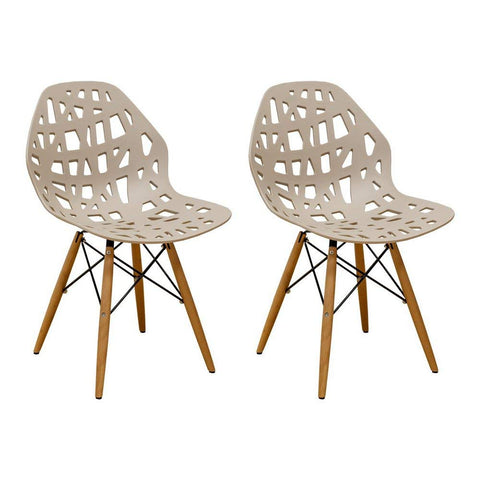 Mod Made MM-SW10004-TAUPE Stencil Cut Out Eiffel Side Chair (Set of 2)