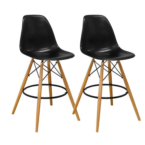 Mod Made MM-PC-016WH-BLACK Paris Tower Barstool 2-Pack