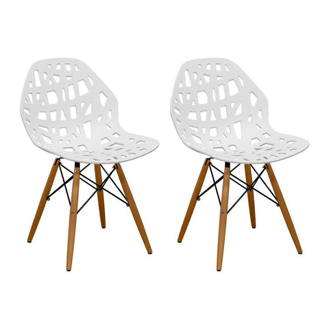 Mod Made MM-SW10004-WHITE Stencil Cut Out Eiffel Side Chair (Set of 2)
