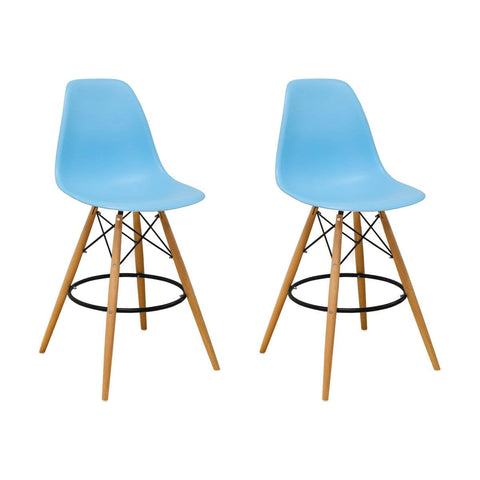 Mod Made MM-PC-016WH-BLUE Paris Tower Barstool 2-Pack