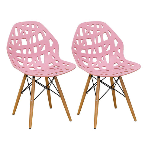 Mod Made MM-SW10004-PINK Stencil Cut Out Eiffel Side Chair (Set of 2)