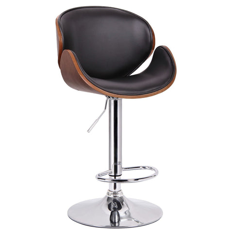 Wholesale Interiors SD-2203-walnut/black-PSTL Crocus Walnut and Black Modern Bar Stool - Each