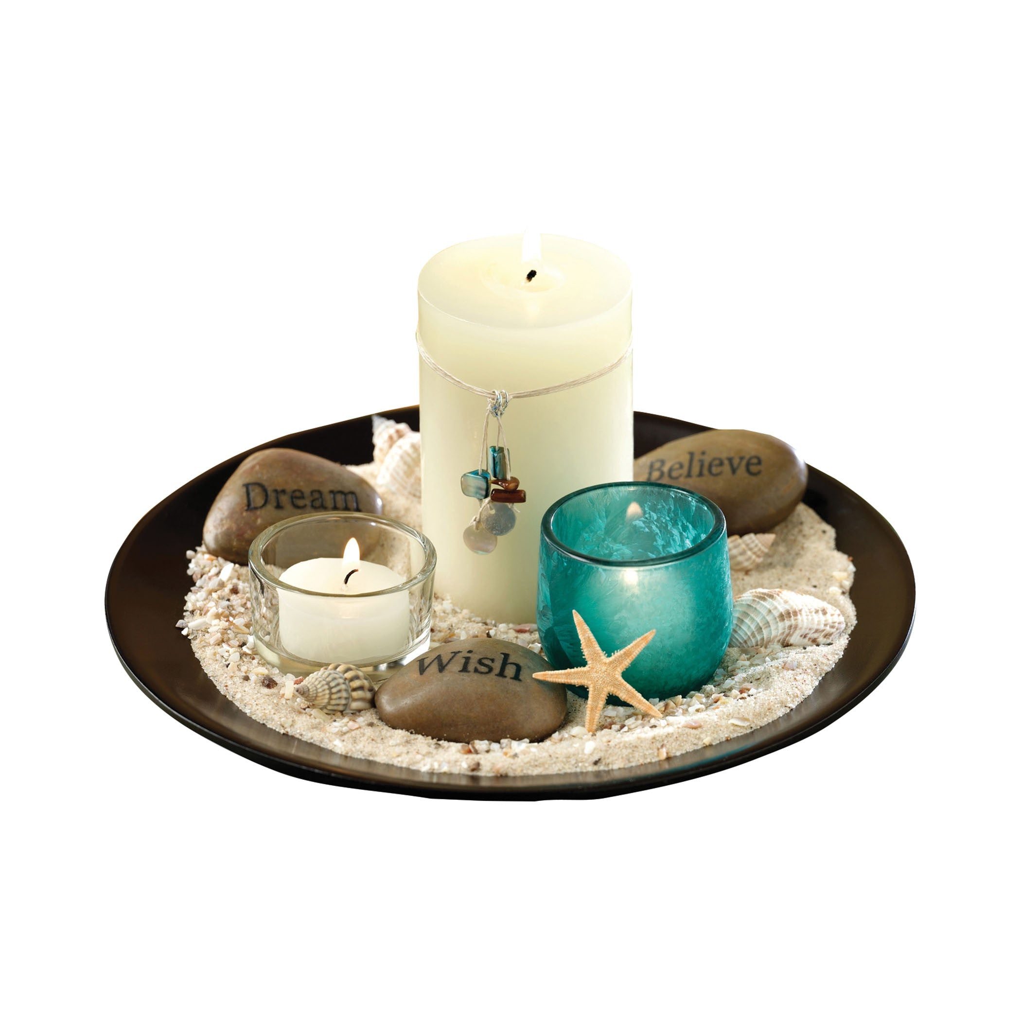 Pomeroy POM-633768 Estrella Collection Espresso,Blue Finish Candle/Candle Holder