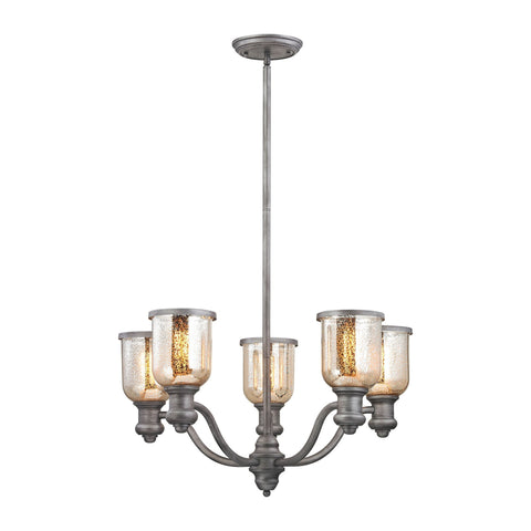 ELK Lighting 66193-5 Brooksdale Collection Weathered Zinc Finish - PeazzLighting