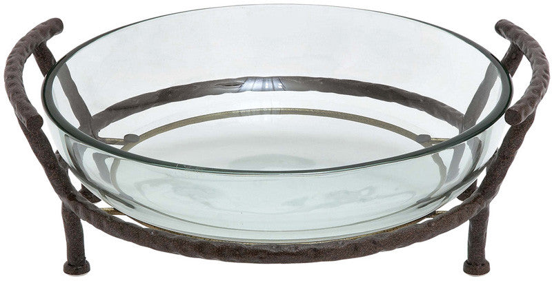 Benzara 68540 Glass Bowl With Metal Stand