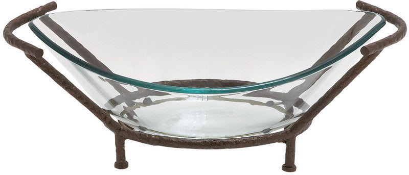 Benzara 68541 Oval-Shaped Glass With Metal Stand