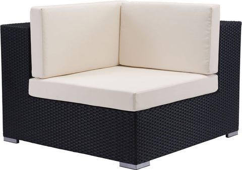 Zuo Modern 703655 Cartagena Corner Chair Color Espresso & Beige Aluminum Frame Finish - Peazz.com - 1