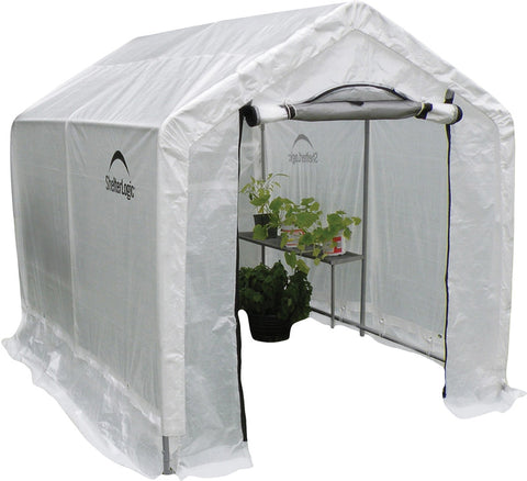 "ShelterLogic 70600 6X8X6'6"" /1,8X2,4X2 M Peak Style Organic Growers Greenhouse With Integrated Shelving (1) Translucent Pe Cover W/ Side Vents; (1) 2-Zipper Door W/ Vent; (1) Back Panel With Vent - Peazz.com"