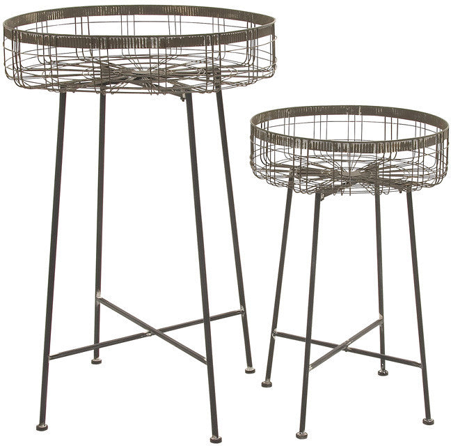 Benzara 70909 Classy Unique Styled Metal Planter Stand Set Of 2