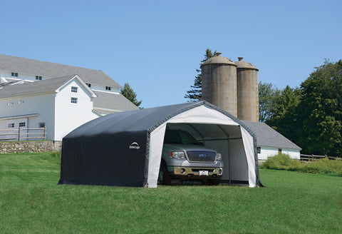 ShelterLogic 70922 12X20X9 Accelaframe Shelter, Hd 7.5 Oz Gray Fabric - Peazz.com - 1