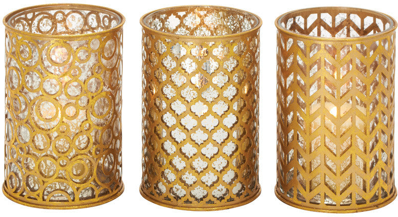 Benzara 70950 Classy Metal Glass Candle Holder 3 Assorted