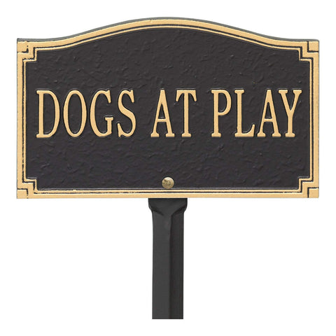 "Whitehall"" Dogs at Play, Cast Aluminum, Durable Sign, Black/Gold"