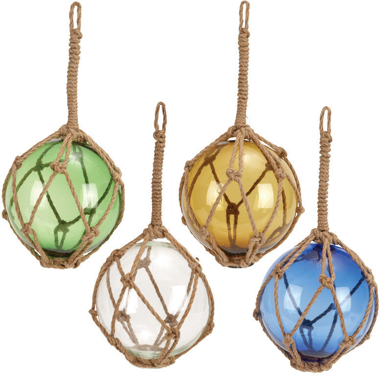 Benzara 71581 Glass Float With Rope 4 Asst White, Blue, Green And Yellow