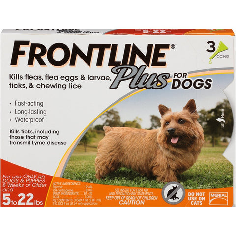 Merial 10178 Frontline Plus For Dogs Up To 22 lbs, Orange 6 Tubes - Peazz Pet