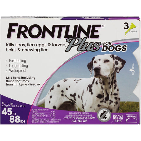 Merial 10189 Frontline Plus For Dogs 4588 lbs, Purple 3 Tubes - Peazz Pet
