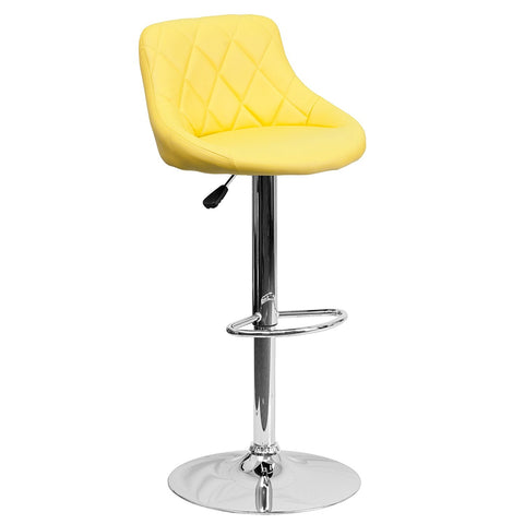 Flash Furniture CH-82028A-YEL-GG Contemporary Yellow Vinyl Bucket Seat Adjustable Height Bar Stool with Chrome Base - Peazz Furniture