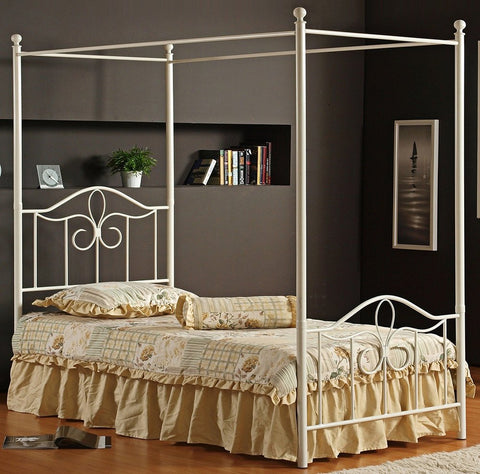 Hillsdale 1354BFPR Westfield Metal Canopy Bed Full Size with Rails Off White