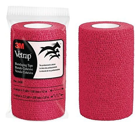 "3M Health Care 10118 3M Vetrap Bandage Tape, 4"" X 5 Yard Roll, RED - Peazz Pet"