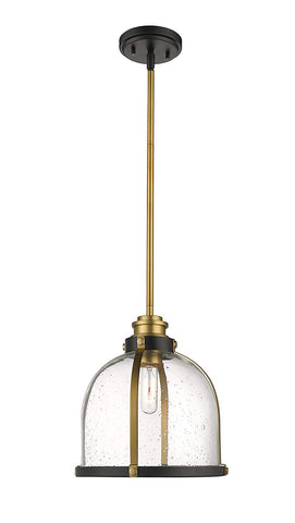 1-Light Pendant in Bronze and Brass Finish