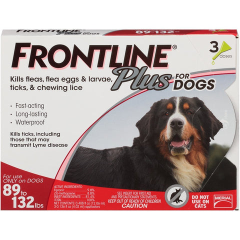 Merial 10194 Frontline Plus For Dogs 89132 lbs, Red 3 Tubes - Peazz Pet