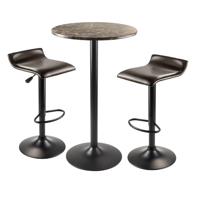 Winsome Wood 76383 Cora 3pc Round Pub Table with 2 Swivel Stools