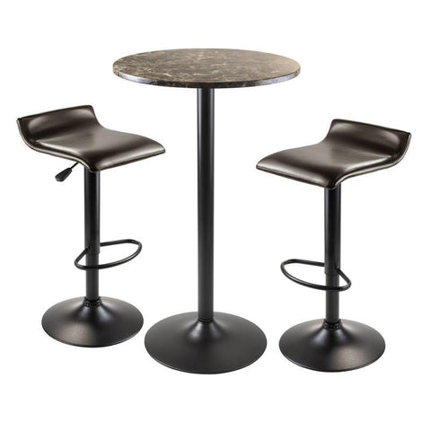Winsome Wood 76383 Cora 3pc Round Pub Table with 2 Swivel Stools - BarstoolDirect.com