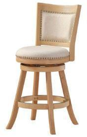 "Boraam 76624 24"" Melrose Counter Stool, White-wash Wire-brush and Ivory - BarstoolDirect.com"