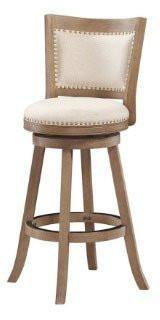 "Boraam 76629 29"" Melrose Barstool, White-wash Wire-brush and Ivory - BarstoolDirect.com"