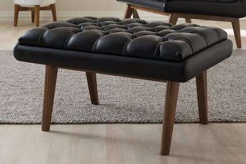 Baxton Studio BBT5273-Pine Black-Stool Annetha Mid-Century Modern Black Faux Leather Upholstered Walnut Finished Wood Ottoman