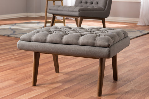 Baxton Studio BBT5273-Grey-Stool-XD45 Annetha Mid-Century Modern Grey Fabric Upholstered Walnut Finished Wood Ottoman
