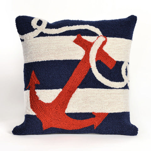 Trans-Ocean Imports 7FP8S140033 Frontporch Collection Navy Finish Pillow - Peazz.com