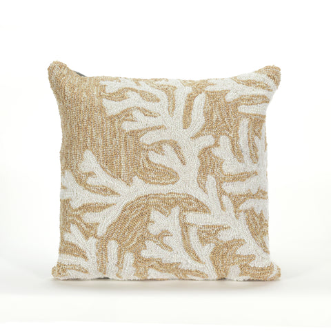 "Trans-Ocean Imports 7FP8S162012 Liora Manne Frontporch Coral Indoor/Outdoor Pillow Natural 18"" Square"