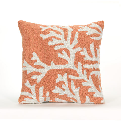 "Trans-Ocean Imports 7FP8S162017 Liora Manne Frontporch Coral Indoor/Outdoor Pillow Orange 18"" Square"