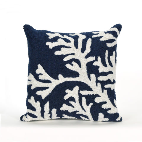 "Trans-Ocean Imports 7FP8S162033 Liora Manne Frontporch Coral Indoor/Outdoor Pillow Blue 18"" Square"
