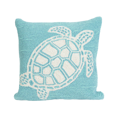 "Trans-Ocean Imports 7FP8S163404 Liora Manne Frontporch Turtle Indoor/Outdoor Pillow Blue 18"" Square"