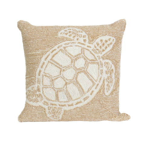 "Trans-Ocean Imports 7FP8S163412 Liora Manne Frontporch Turtle Indoor/Outdoor Pillow Natural 18"" Square"