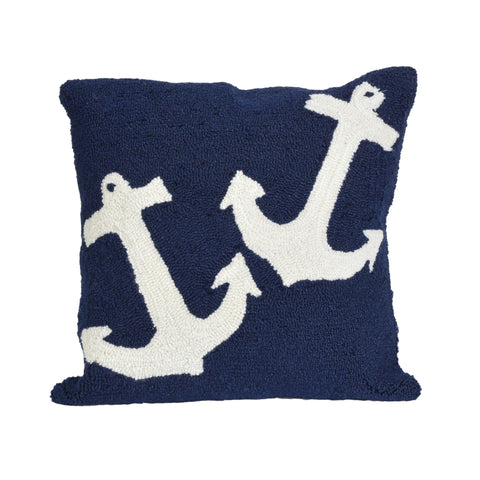 "Trans-Ocean Imports 7FP8S166433 Liora Manne Frontporch Anchor Indoor/Outdoor Pillow Blue 18"" Square"