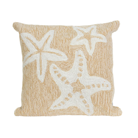 "Trans-Ocean Imports 7FP8S166712 Liora Manne Frontporch Starfish Indoor/Outdoor Pillow Natural 18"" Square"