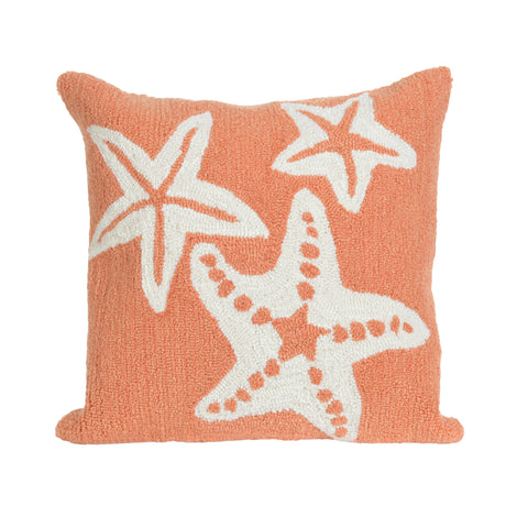 "Trans-Ocean Imports 7FP8S166718 Liora Manne Frontporch Starfish Indoor/Outdoor Pillow Orange 18"" Square"