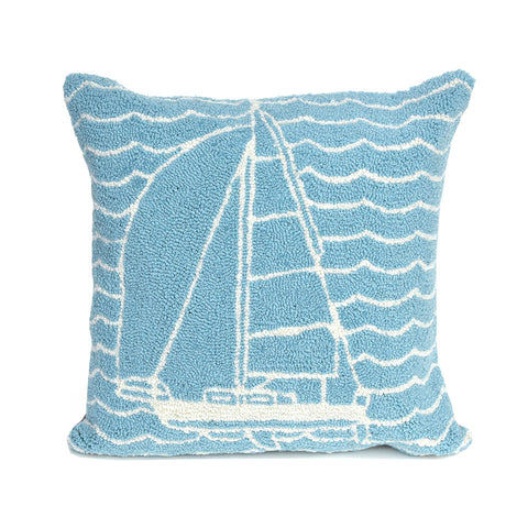 "Trans-Ocean Imports 7FP8S167304 Liora Manne Frontporch Sails Indoor/Outdoor Pillow Blue 18"" Square"