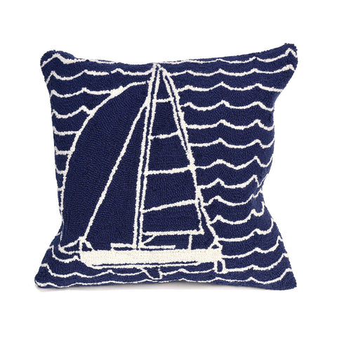 "Trans-Ocean Imports 7FP8S167333 Liora Manne Frontporch Sails Indoor/Outdoor Pillow Navy 18"" Square"