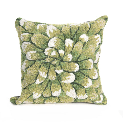 "Trans-Ocean Imports 7FP8S182806 Liora Manne Frontporch Mum Indoor/Outdoor Pillow Green 18"" Square"