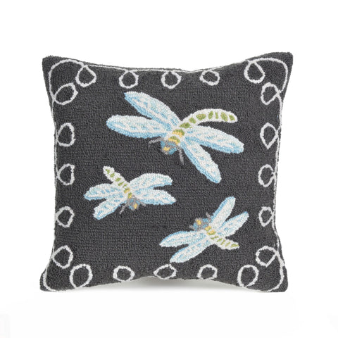 "Trans-Ocean Imports 7FP8S204847 Liora Manne Frontporch Dragonfly Indoor/Outdoor Pillow Black 18"" Square"
