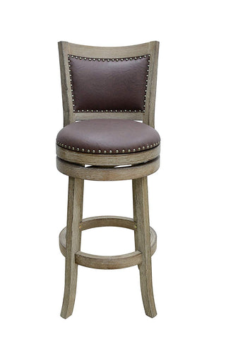 Boraam 89629 Cantabria Bar Height Wire-Brush Swivel Stool, 29-Inch, Weathered White