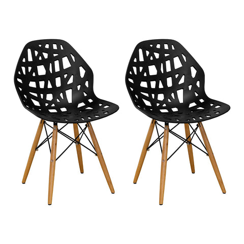 Mod Made MM-SW10004-BLACK Stencil Cut Out Eiffel Side Chair (Set of 2)