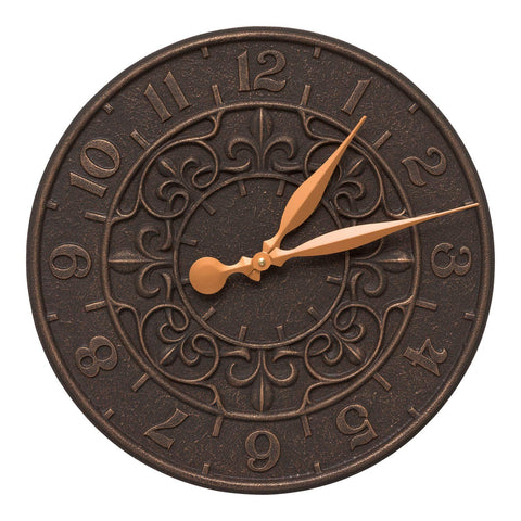 "Whitehall Vine and Fleur Indoor Outdoor Wall Clock, 16"", Oil Rubbed Bronze"